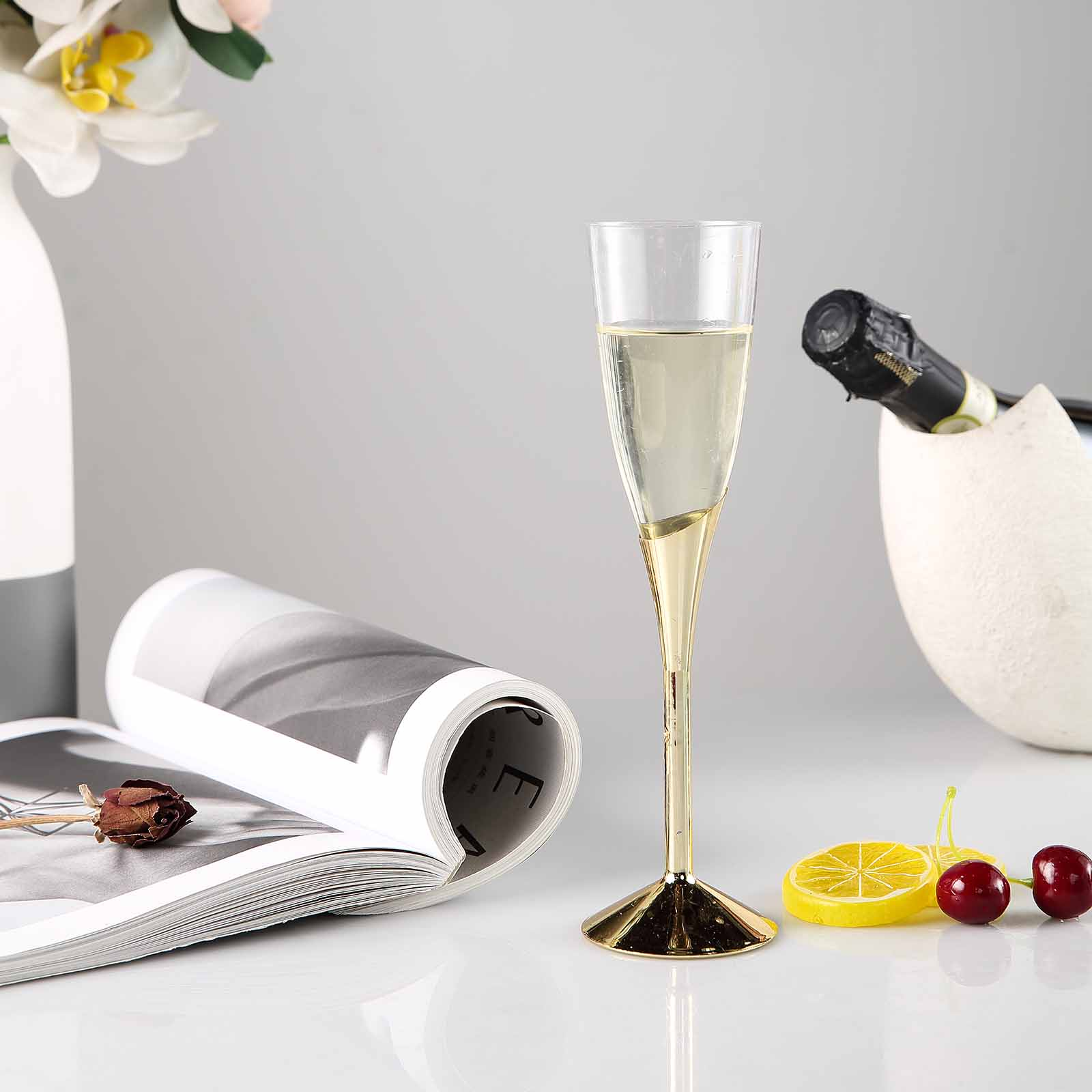 BalsaCircle 6 pcs 5 oz. Disposable Plastic Champagne Flutes Favor Holders for Wedding Reception Party Buffet Catering Tableware