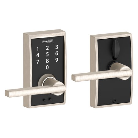 Schlage FE695VCEN619LAT Satin Nickel Keyless Touchscreen Lever With Century Trim And Latitude Lever