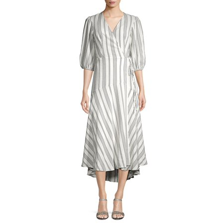 Striped Wrap Front Dress (Calvin Klein Sweater Dress Black And White)