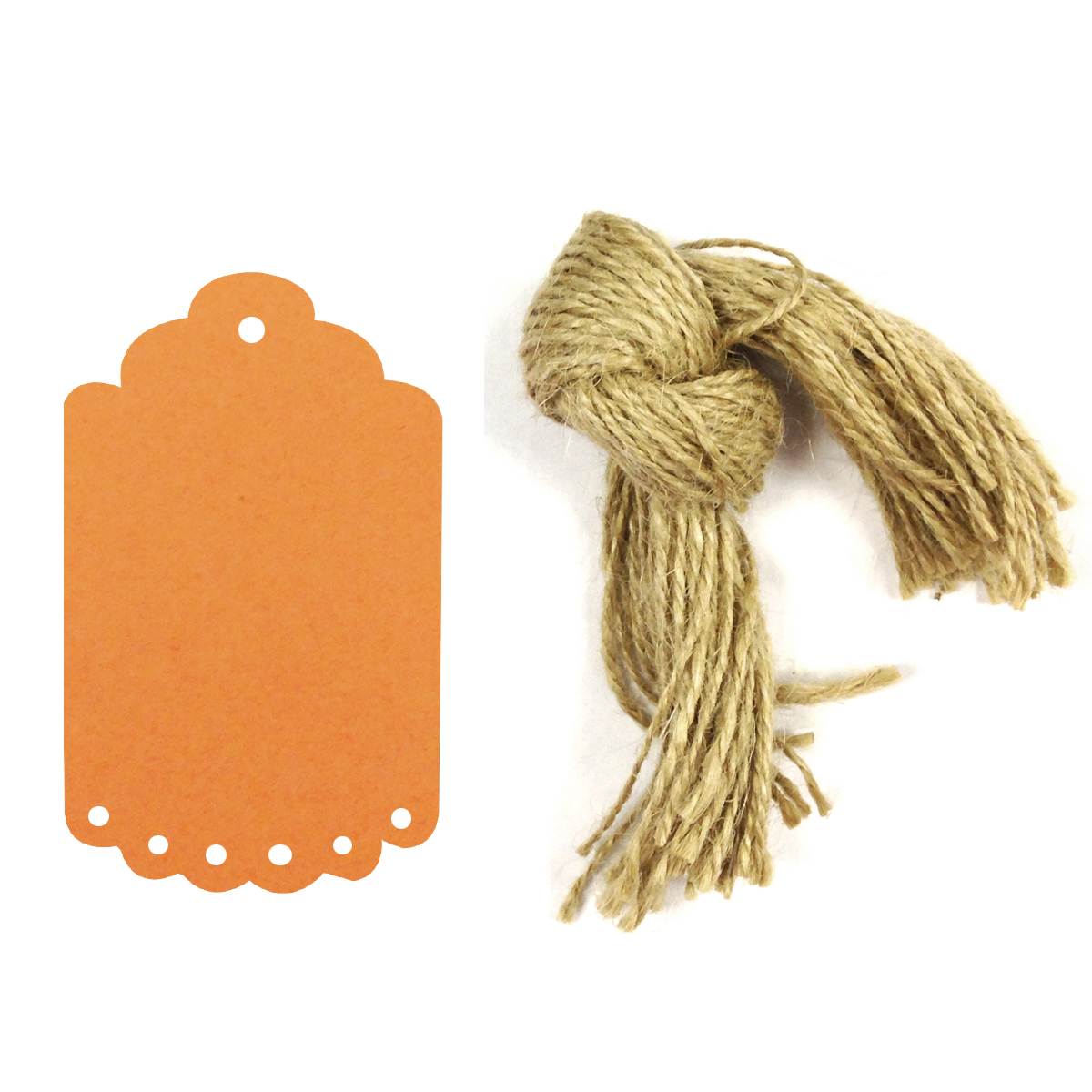 Wrapables® 50 Gift Tags/Kraft Hang Tags with Free Cut Strings for Gifts, Crafts & Price Tags, Small Scalloped Edge (Orange)