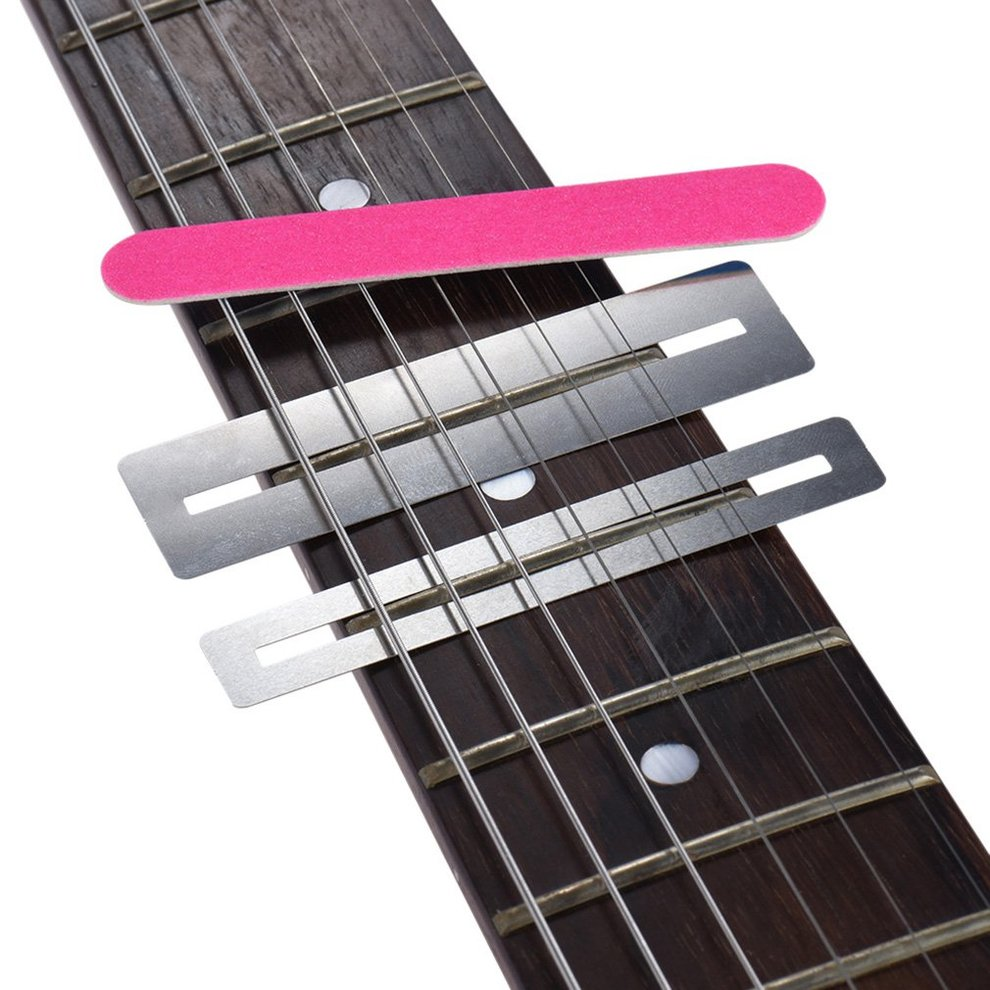 HEALLILY 3pcs Guitar Fingerboard Guards Metal Fretboard Protect Tool Set Fretboard Protector for Guitar String Bass Musical Instrument