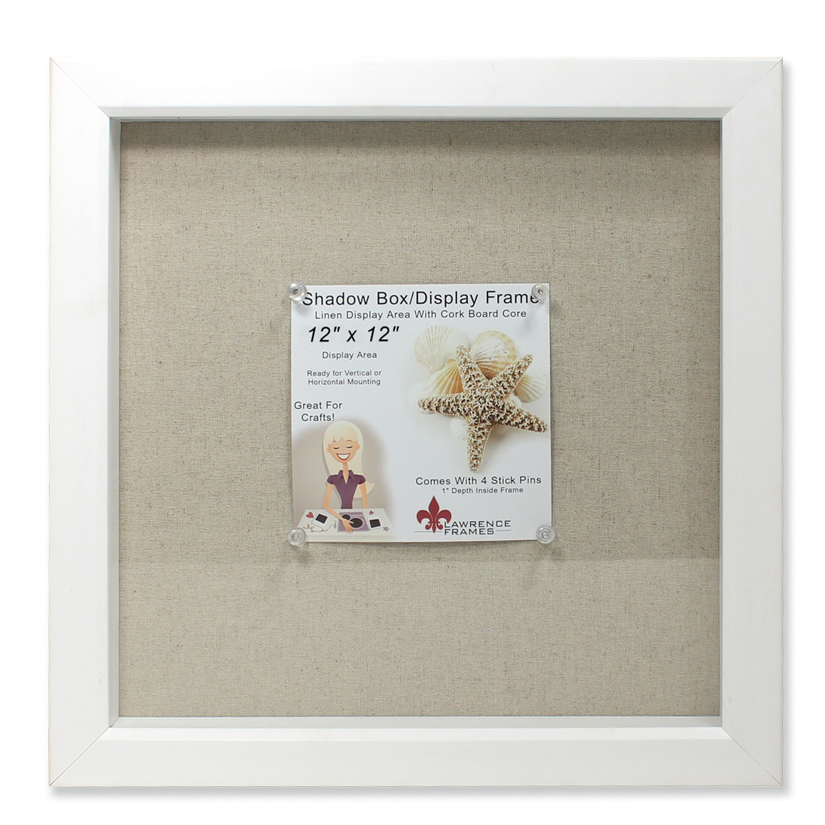12x12 White Shadow Box Frame - Linen Inner Display Board