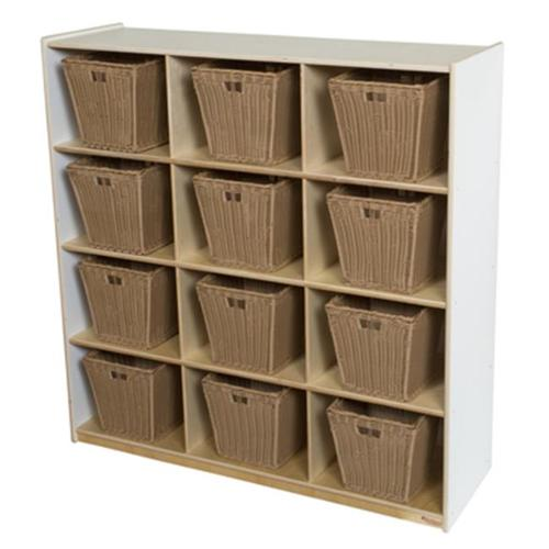 Wood Designs 50912WHT-719 9 Cubby Storage With Medium Baskets, White