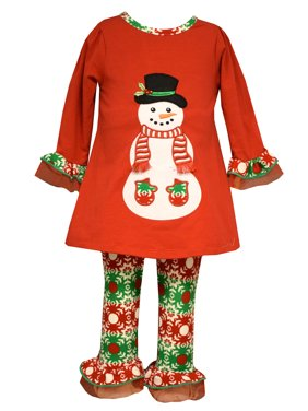 0c65cda831e6 Product Image Bonnie Jean Baby Girls Christmas Santa Snowman Red Legging  Set 6-9 Months
