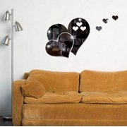 3D Mirror Heart Shaped Wall Decal Stickers Lovely Diy Art Mural Decoration For Bedroom Living Room Bathroom Home