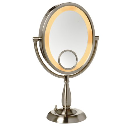 See All 8 in. x 10 in. Oval Table Top Lighted Make Up Mirror 10x Magnification with a 15x inset Nickel