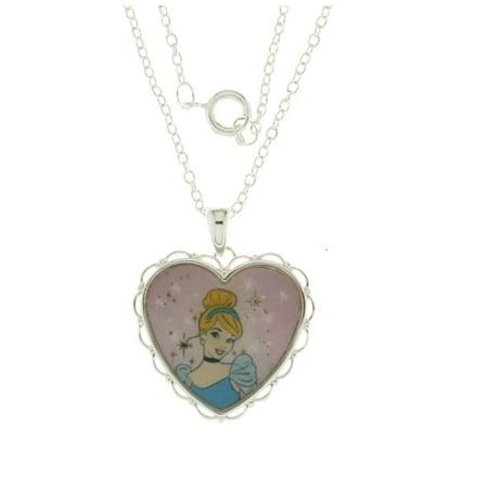 Disney Cinderella Heart Enamel Pendant W/Chain. GIFT BOX Silver Plated ()
