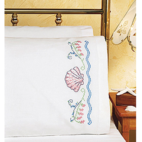 "Seashells Pillowcase Pair Stamped Cross Stitch, 20"" x 30"""