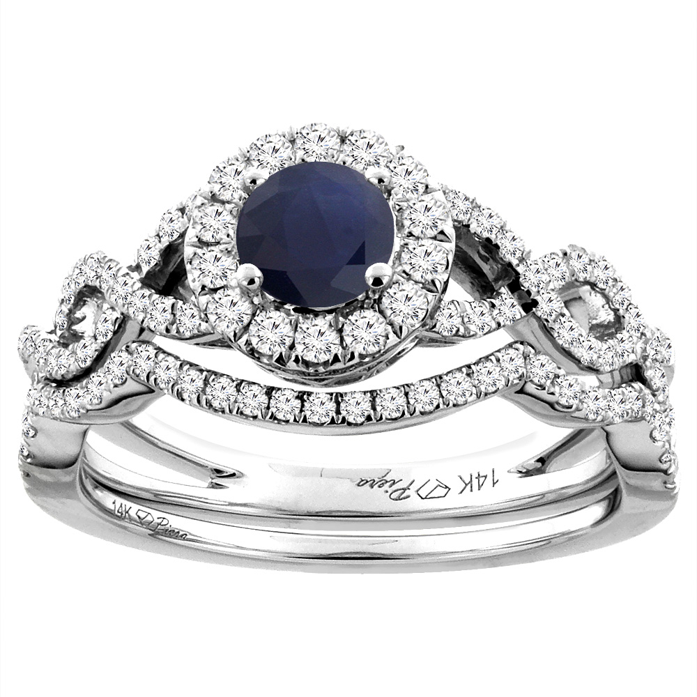 14K White Gold Diamond Natural Blue Sapphire Halo Engagement Bridal Ring Set Round 5 mm, size 6