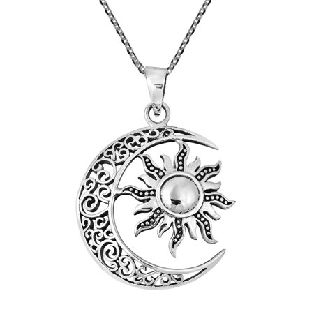 Celtic Crescent Moon and Sun Eclipse .925 Sterling Silver - Sun And Moon Friendship Necklace