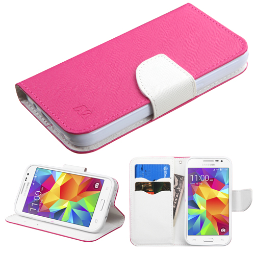 For Galaxy Core Prime/Prevail LTE Pink Pattern/White MyJacket wallet +card slot