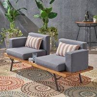 Salma Outdoor Acacia Wood 2 Seater Sofa, Teak, Dark Gray