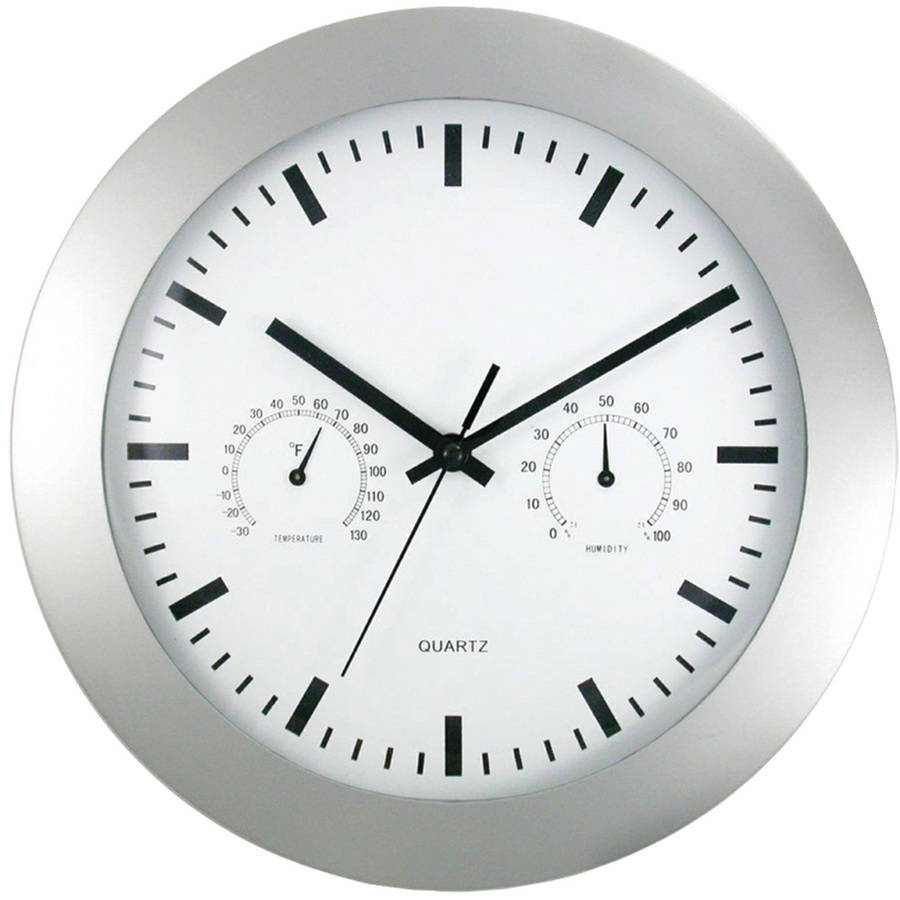 "Timekeeper 12"" Round Wall Clock and Weather Station"