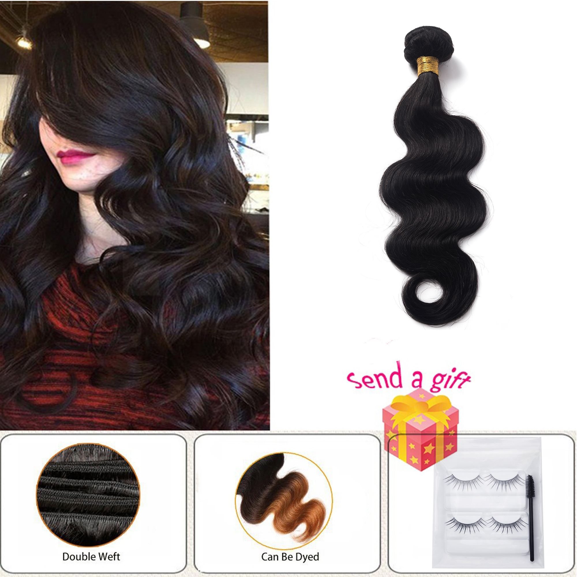 Woman Girl Real Soft Sliky Full Head Curly Wavy Hair Real Hair 7A Unprocessed Virgin Brazilian Hair Bundles Human Hair Straight Extensions Natural Black 1 Bundle 50g/100g