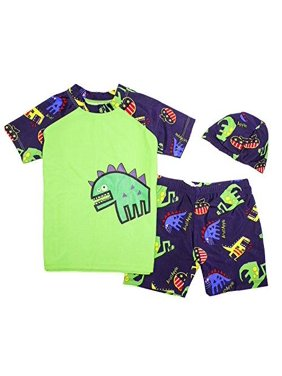 StylesiLove Kids Boy Cartoon Dinosaur Shark Rashguard Top & Swim Shorts with Hat 3 pcs Set