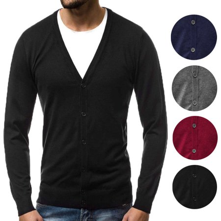 Mens Classic V-neck Sweater - Fashion Outfit Men's Solid Classic V-Neck Button Down Sweater Cardigan