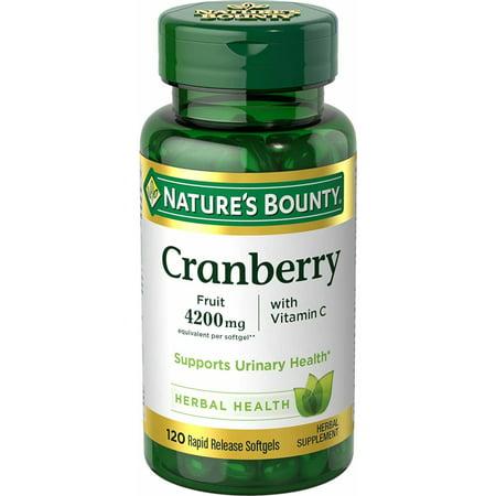 Nature's Bounty Cranberry Fruit 4200 mg, Plus Vitamin C Softgels, 120