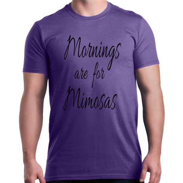 Shop4Ever Men's Mornings for Mimosas Black Funny Drinking Graphic T-shirt