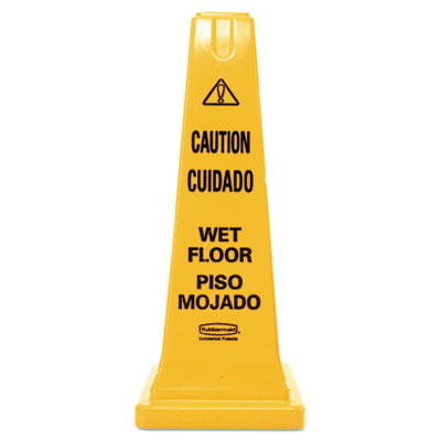 Four-Sided Caution, Wet Floor Safety Cone, 10 1/2w x 10 1/2d x 25 5/8h, Yellow, Sold as 1 Each