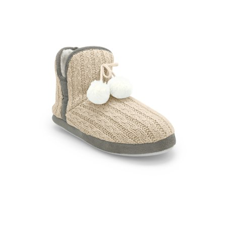 Junie's Women's Carol Plush Fur Lined Slip-on Cable Knit Slipper Bootie