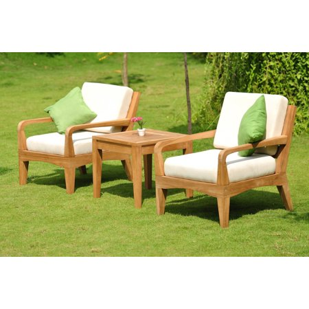 Wholesaleteak Outdoor Patio Grade A Teak Wood 3 Piece Teak Sofa Lounge Chair Set 2 Lounge Chairs And 1 Square End Table Furniture Only Noida
