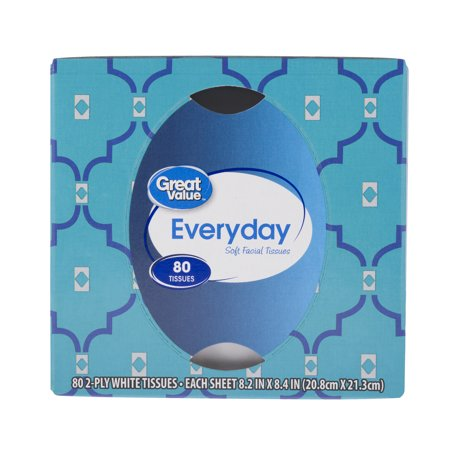 (4 Pack) Great Value Everyday Soft Facial Tissues, 2 Ply, 80 Count