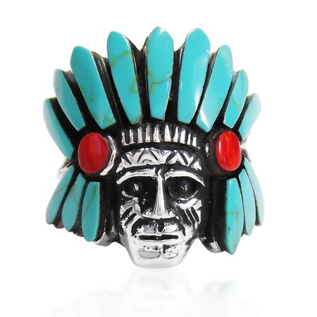 Indian Style Green Turquoise and Coral Stone .925 Silver Ring-10