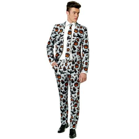 Suitmeister Men's Halloween Grey Icons Halloween Suit