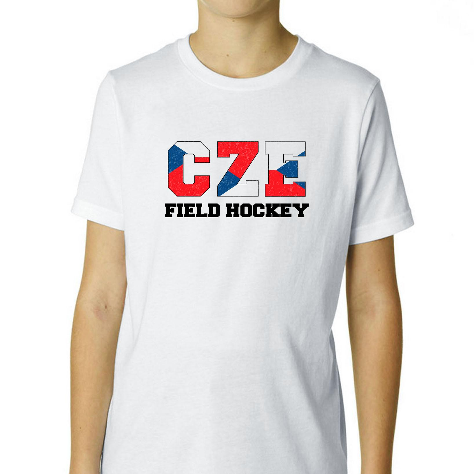 Czech Republic Field Hockey Olympic Games Rio Flag Boy's Cotton Youth T-Shirt by Hollywood Thread