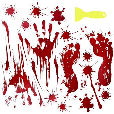 Bloody Handprints & Footprints Halloween Party Decor Horror Stickers  Vampire Party Supplies Zombie Decor Creepy Wall Decor
