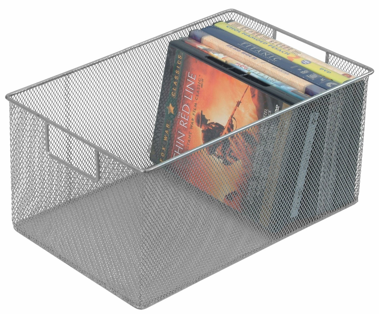 YBM Home Silver Mesh Open Bin Storage Basket DVD Cd Book Holder