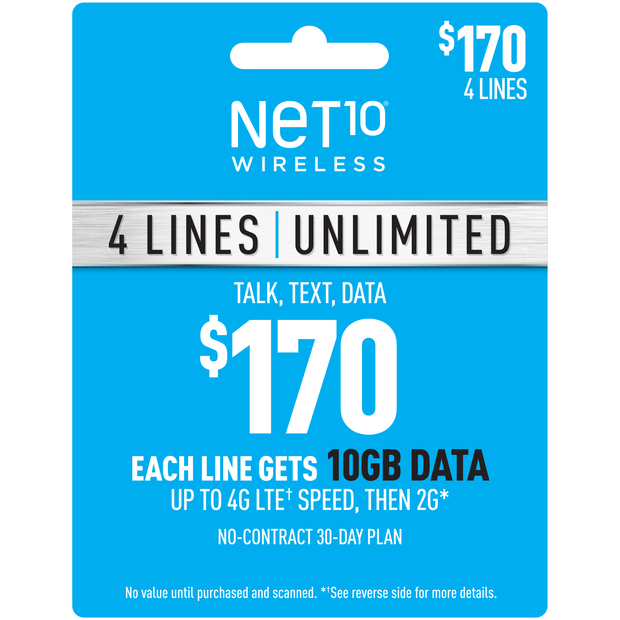 Net10 $170 Unlimited Family & Friends Plan for 4 Lines (10GB of data per line at high speeds, then 2G*) (Email Delivery)