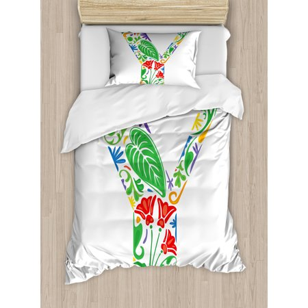 Letter Writing Set - Letter Y Twin Size Duvet Cover Set, Seasonal Inspirations Capital Writing Symbols Word with Arabesque Ceramic Effects, Decorative 2 Piece Bedding Set with 1 Pillow Sham, Multicolor, by Ambesonne