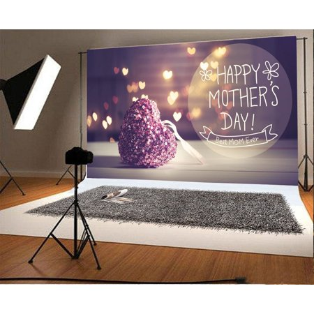 HelloDecor Polyster 7x5ft Happy Mother's Day Backdrop Best Mom Ever Sweet Bokeh Shining Hearts Blurry Rustic Wood Floor Photography Background Kids Family Photo Studio