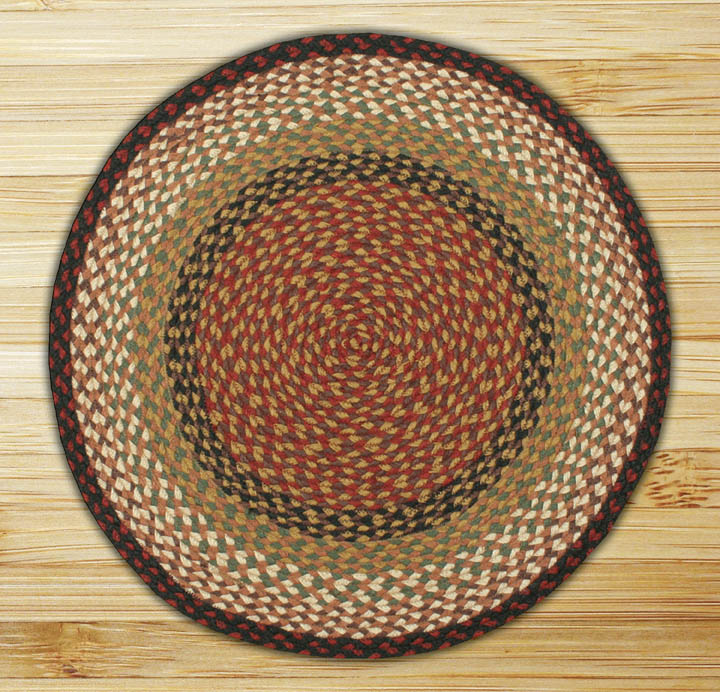 Earth Rugs C 19 Burgundy Mustard Round Braided Rug 7 75