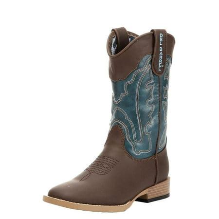 Double Barrel Western Boots Boys Open Range Kid Zip Brown Turq 4451602 (Double H Mens Western Boots)