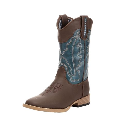 Cowboy Boots For Boys (Double Barrel Western Boots Boys Open Range Kid Zip Brown Turq)
