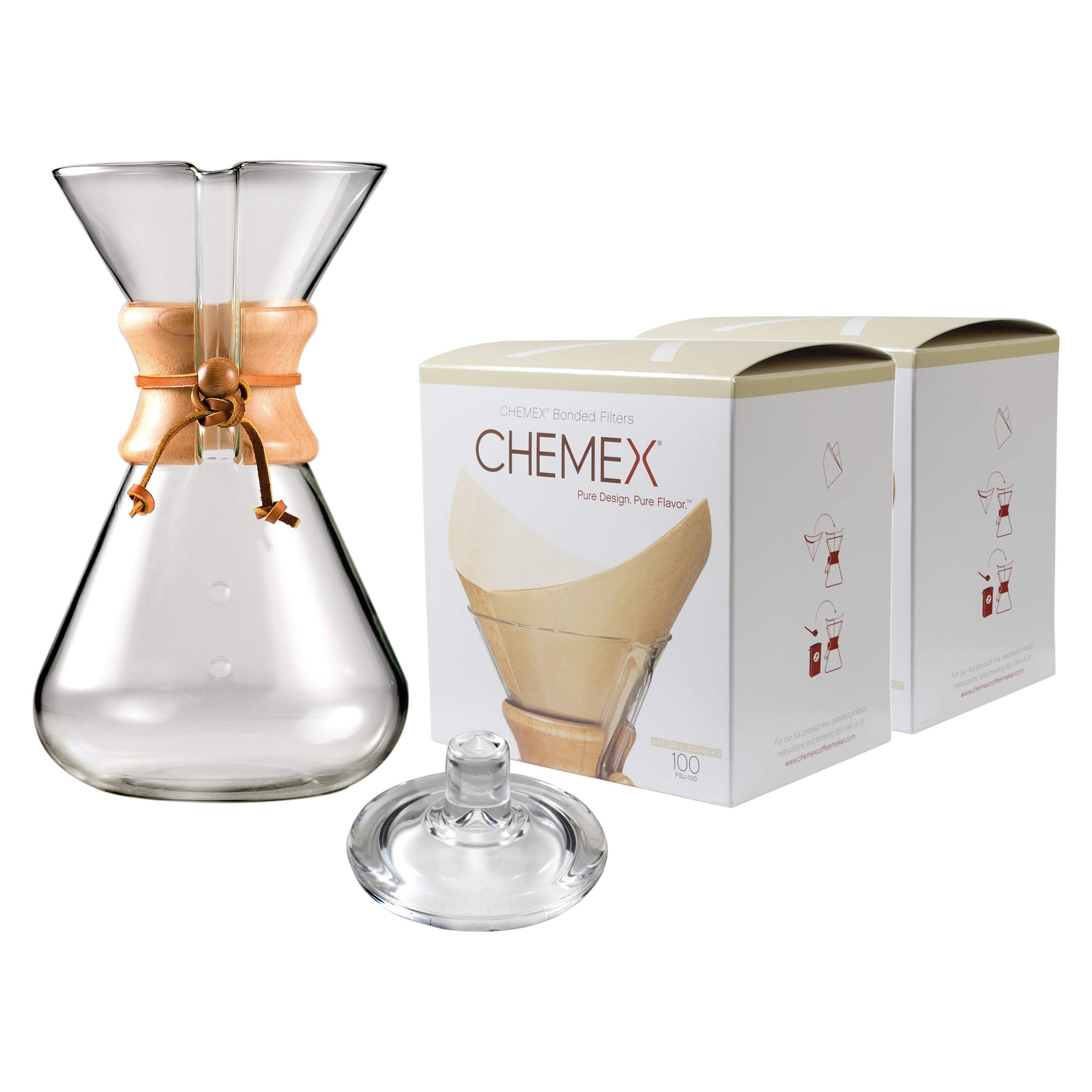 Chemex Wood Collar and Tie Glass 65 Ounce Coffee Maker wi...