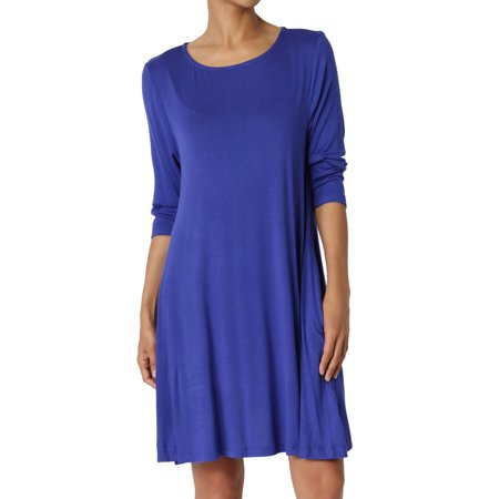 TheMogan Women's 3/4 Sleeve A-Line Knit Pocket T-Shirt Mini Dress Long Tunic - Blue Jumpsuit