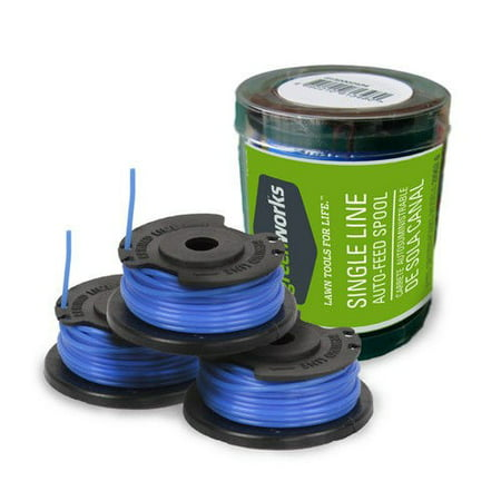 Greenworks .065-Inch Single Line String Trimmer Replacement Spool 3-Pack