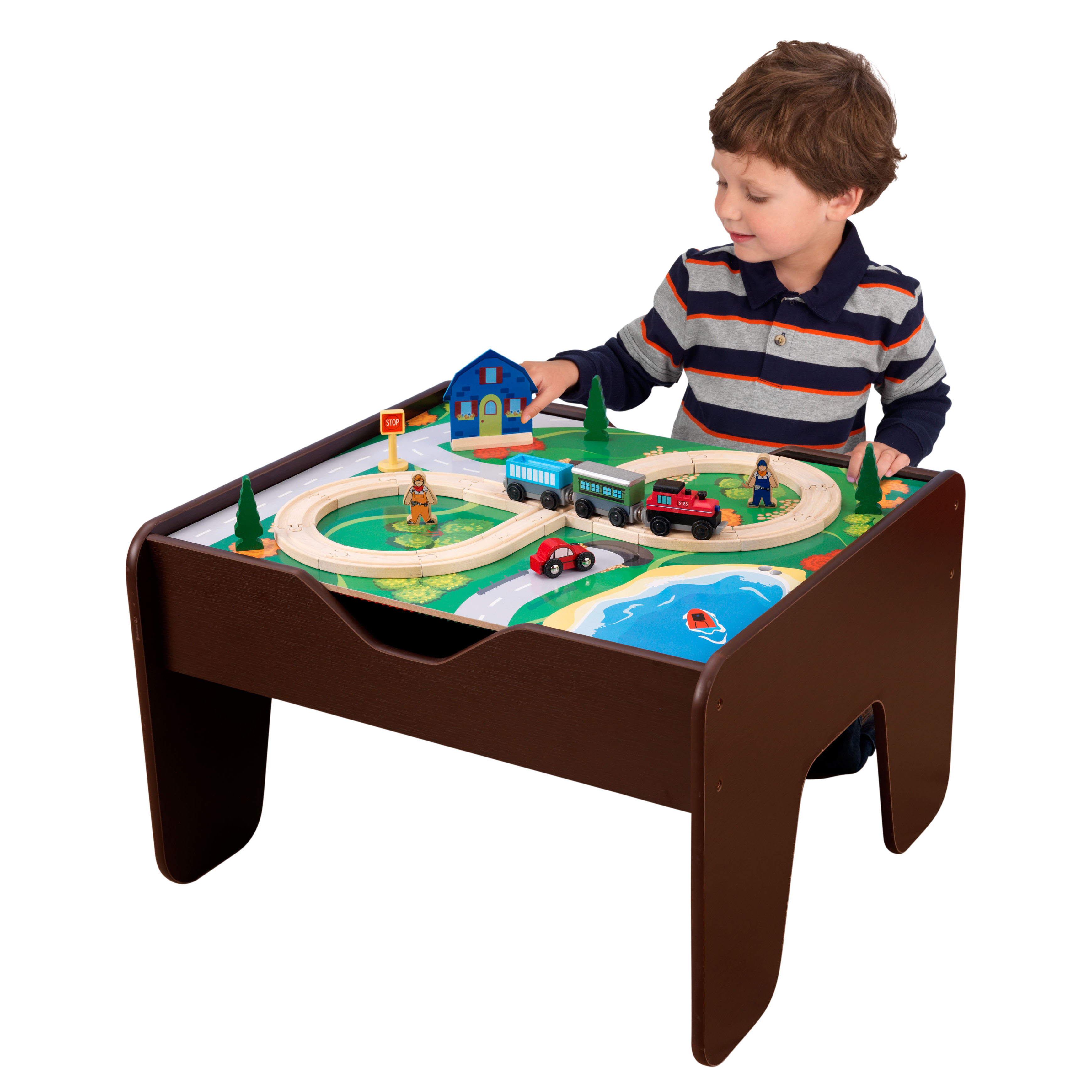 KidKraft 2 In 1 Activity Table With Board   Espresso With 230 Accessories  Included