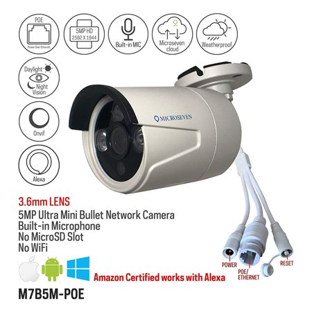 Microseven 5MP POE IP Camera Security Outdoor 5 Megapixels Super HD 2592x1944 H.265 Audio Built-in Mic IR Night Vision Bullet Waterproof Camera, ONVIF, Motion Detection, Free 24hr Cloud