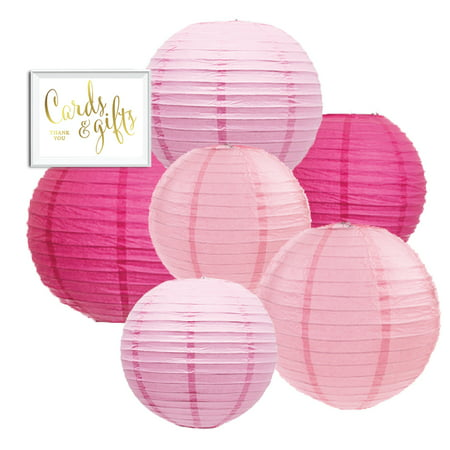 Andaz Press Blush Pink, Pink, Fuchsia Hanging Paper Lanterns Decorative Kit, 6-ct with Free Gifts Table Party Sign
