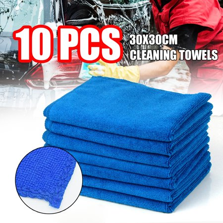 10pcs Microfiber Cleaning Cloth No-Scratch Rag Car Polishing Detailing Towel for Auto Shops Mechanics ,And Car Wash,