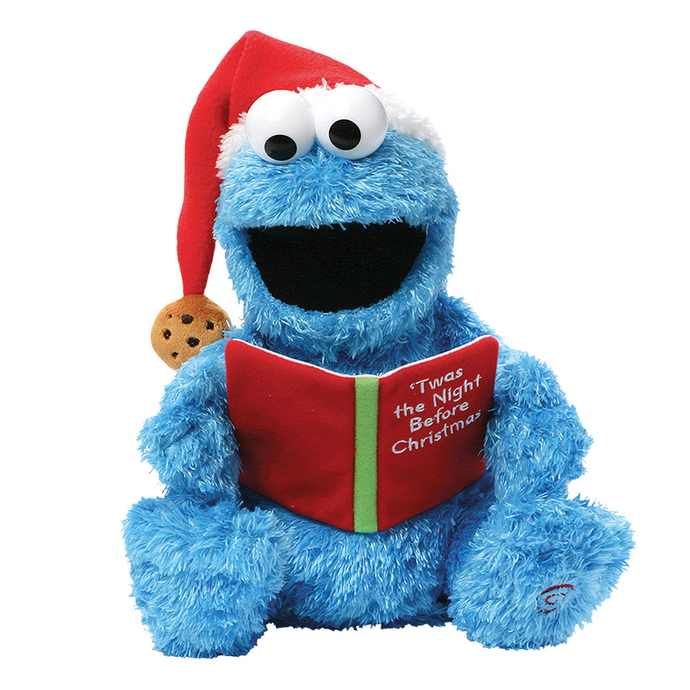 Children's Sesame Street 'Twas The Night Before Christmas Reading Cookie Monster - Animated Stuffed Animal