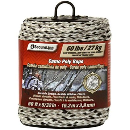 Lehigh CMFPS3250 5/32-Inch by 50-Feet Digital Camouflage Polypropylene Rope Snowy Mountain