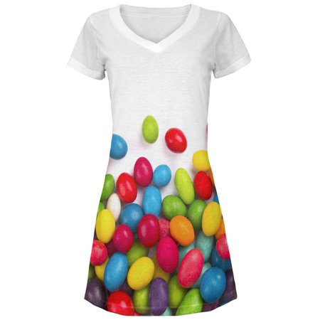Halloween Jelly Beans All Over Juniors V-Neck - Mr Bean Halloween Special