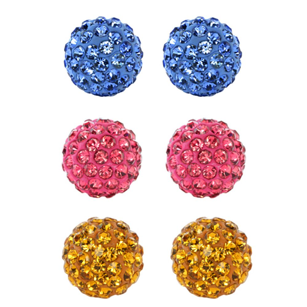 Set of 3 Round 8mm Blue Pink & Yellow Pave Crystal Disco Ball Stud Earrings Set