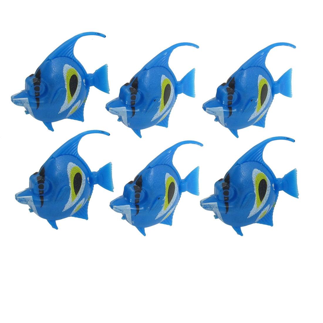 Unique Bargains Aquarium Movable Tail Yellow White Blue Stripes Tropical Fish Decoration 6 Pcs