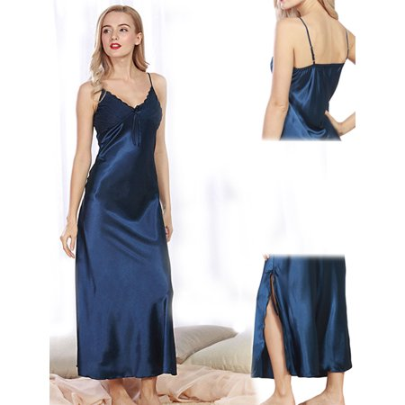 Women Summer Sexy Satin Lace Long Nightgown Slip Lingerie Chemise Robe Color Blue Size XXXL (Satin Full Slip)
